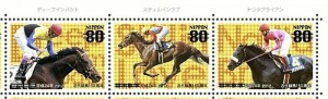 ディープインパクトなどをデザインした近代競馬150周年記念切手 来月発売