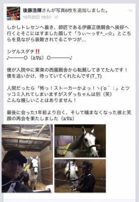 keiba 1415516829 37801 276x400 - シゲルスダチ予後不良 後藤騎手「最期を見守れたことが心の慰めです」