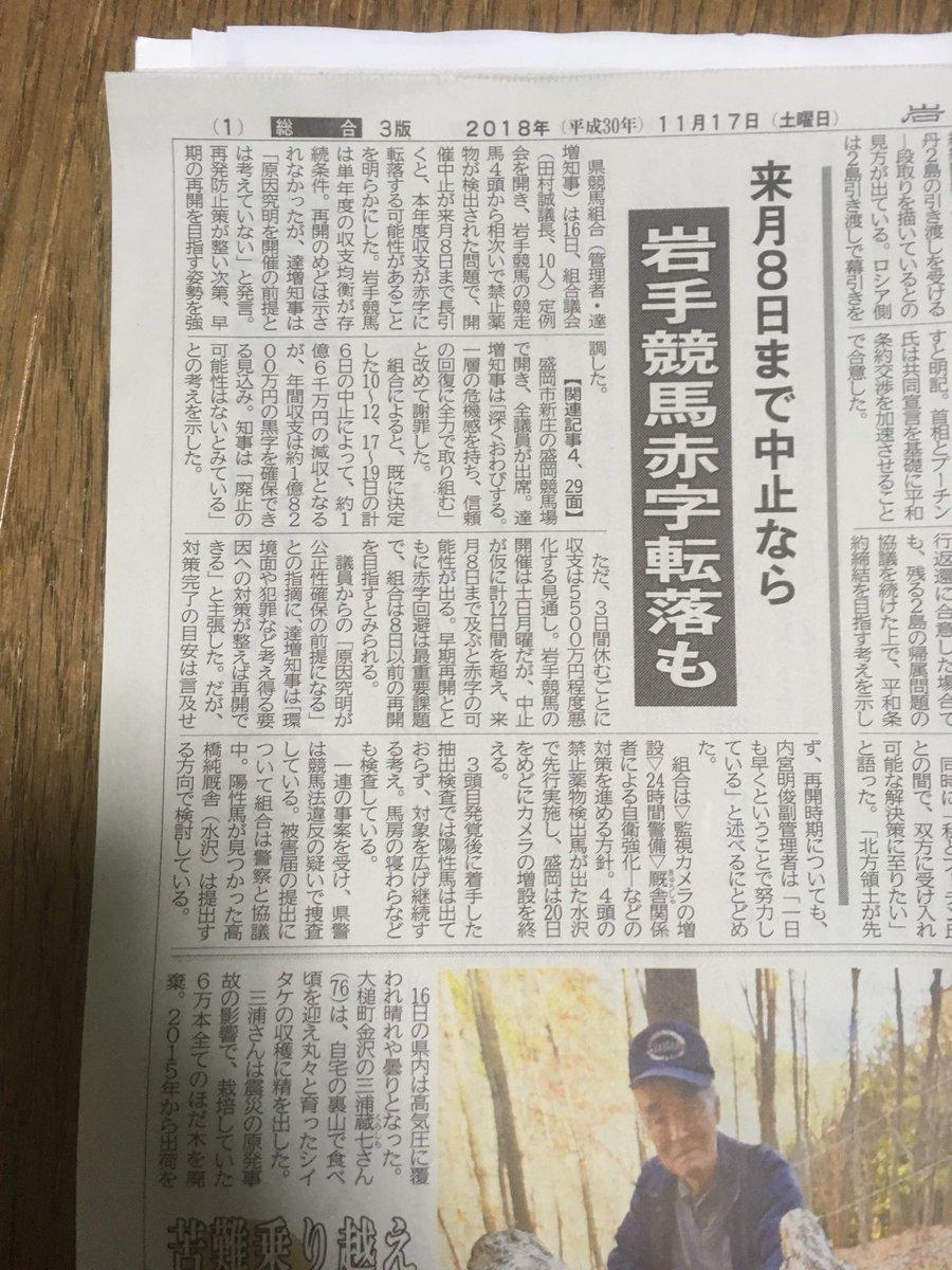keiba 1542348783 11501 - 岩手知事「競馬廃止ない」 黒字確保の見込み 禁止薬物で新たな検出なし