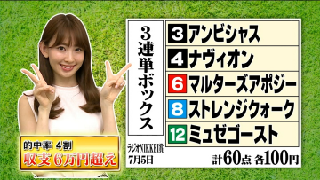 AKB48小嶋陽菜が三連単五頭BOXで751倍的中!