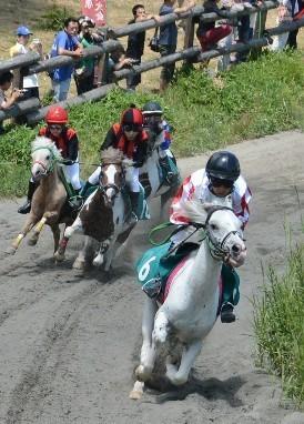 草競馬大会:走る走るポニー土煙を上げて 高ボッチ高原