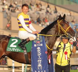 mnewsplus 1542438777 3101 - 東京スポーツ杯2歳S(東京・G3) 重賞勝ち馬が低評価を一蹴!中団追走ニシノデイジー(勝浦)4頭の叩き合いを制し重賞連勝!