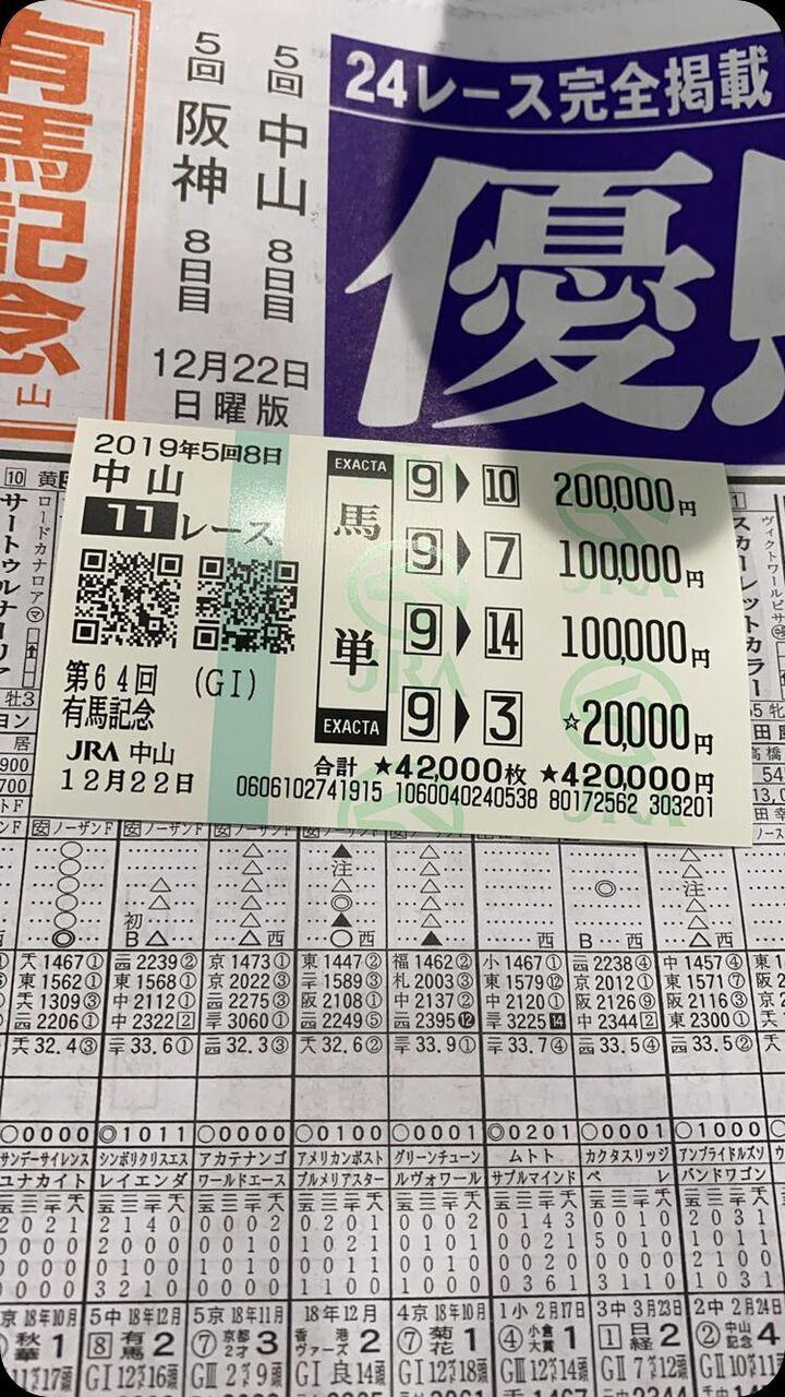 mnewsplus 1577076118 3001 - 【有馬記念】売り上げ468億8971万4600円で前年比7・4%アップ